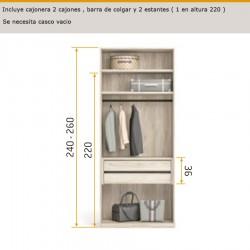 Interior de armario con 2 cajones