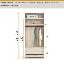 Interior de armario con 3 cajones
