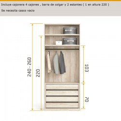 Interior de armario con 4 lejas extraíbles, barra de colgar y 2 estantes