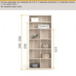 Interior armario con separador con estantes de 173,3 estantes estrechos y 2 estantes anchos