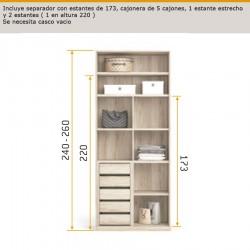interior de armario con seperador con estantes de 173, cajonera de 5 cajones , 1 estante estrecho y 2 estantes ancho