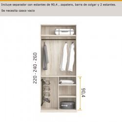 interior de armario con separador con estantes de 90,4 , zapatero , barra de colgar y 2 estantes.