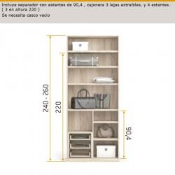 Interior de armario con estantes de 90,4 , cajonera 3 lejas extraíbles y 4 estantes