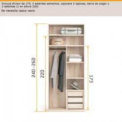 Interior de armario con separador de 173, cajonera 3 cajones , barra de colgar y 2 estantes