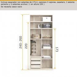 Interior de armario con separador con estantes 173, cajonera 3 cajones, zapatero,1 estante estrecho y 2 estantes anchos