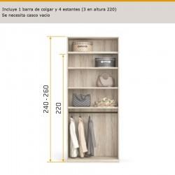 Interior de armario con 1 barra de colgar y 4 estantes