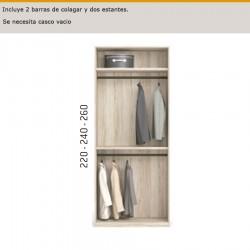 Interior de armario con 2 barras de colgar y dos estantes