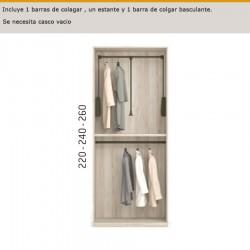 Interior de armario con 1 barra de colgar, un estante y 1 barra de colgar basculante