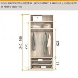 Interior de armario cajonera 3 lejas extraíbles, barras de colgar y 2 estantes