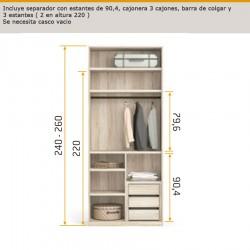Interior de armario separador con estantes de 90,4 , cajonera 3 cajones , barra de colgar y 3 estantes