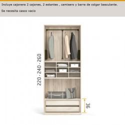 Interior de armario cajonera 2 cajones , 2 estantes , camisero y barra de colgar basculante