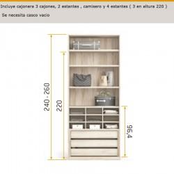 Interior de armario cajonera 3 cajones, camisero y 4 estantes